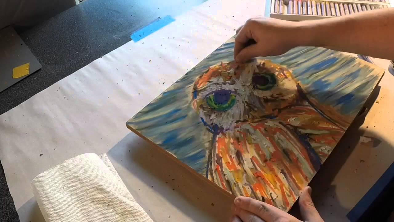 Owl oil pastel painting -9 Amazing Tips To Use Oil Pastels