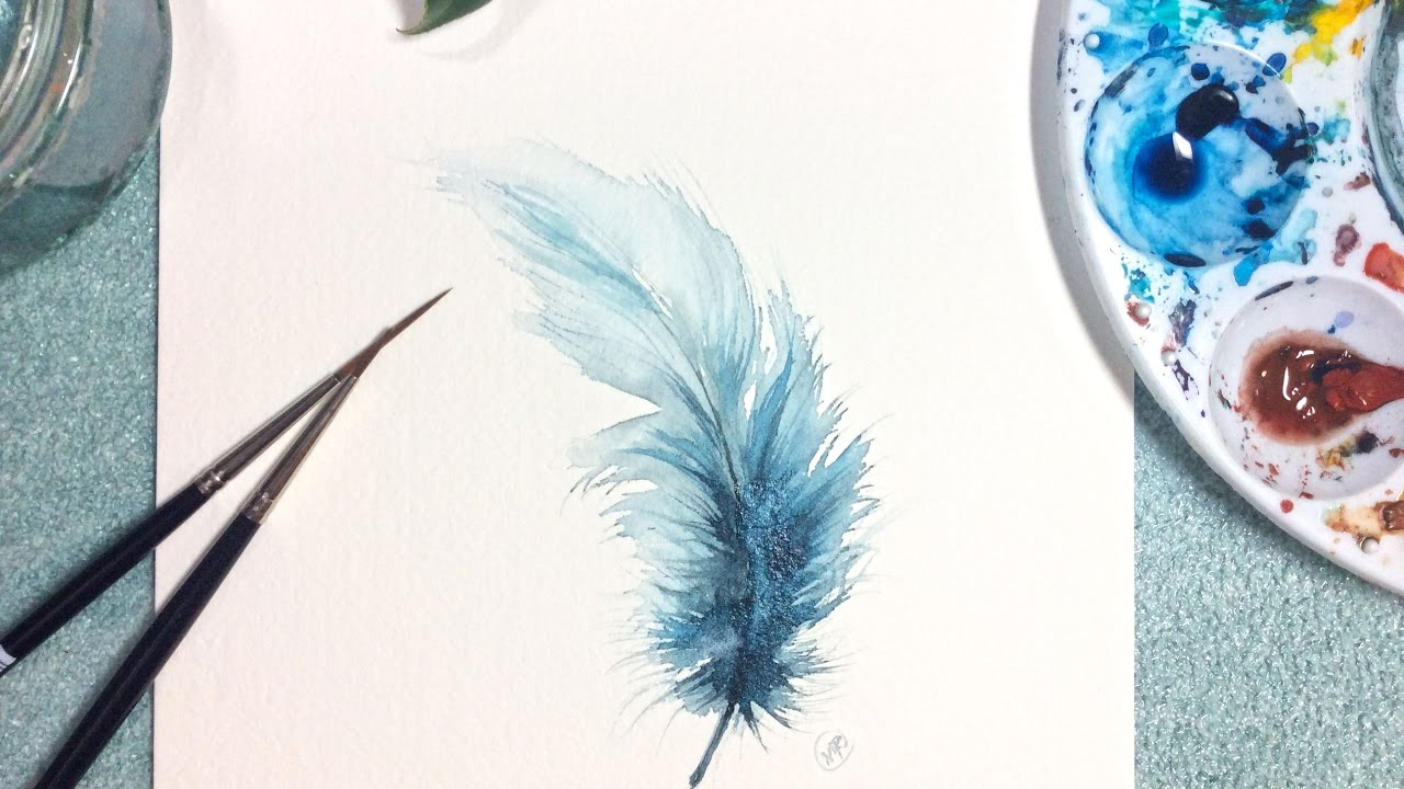 Watercolor feather painting