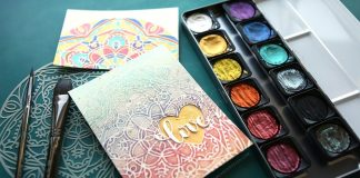 Stencil watercolor painting