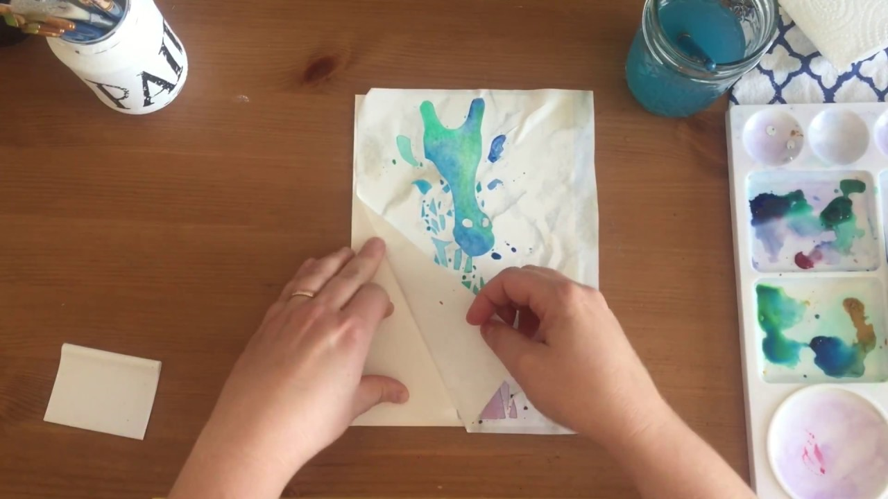 Stencil watercolor