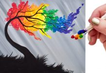 Rainbow willow tree painting