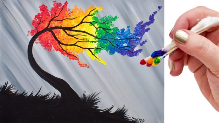 8 Easy Acrylic Rainbow Willow Tree Painting Tutorial Guide For Beginners Tropic Drawing