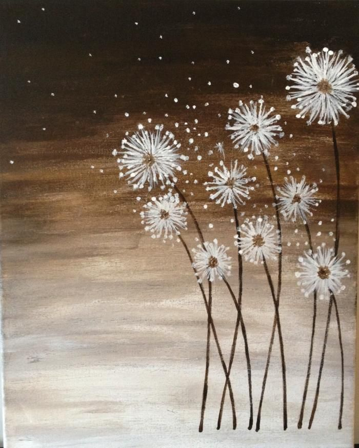 Dandelion flowers with acrylics