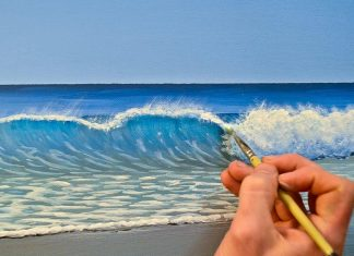 Painting waves with acrylics