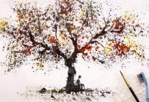 Watercolor autumn tree painting