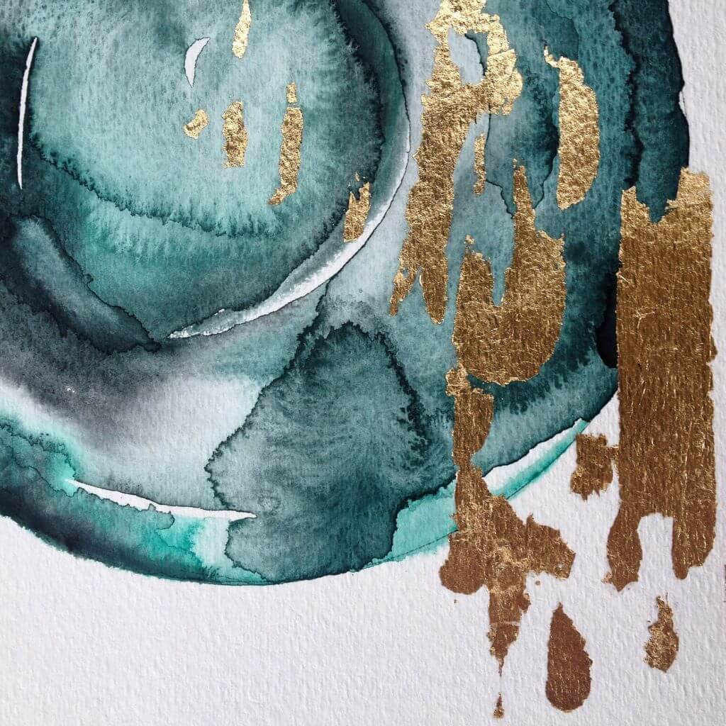 Gilded watercolor painting