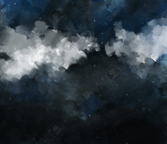 Watercolor Cloudy Night Sky Painting