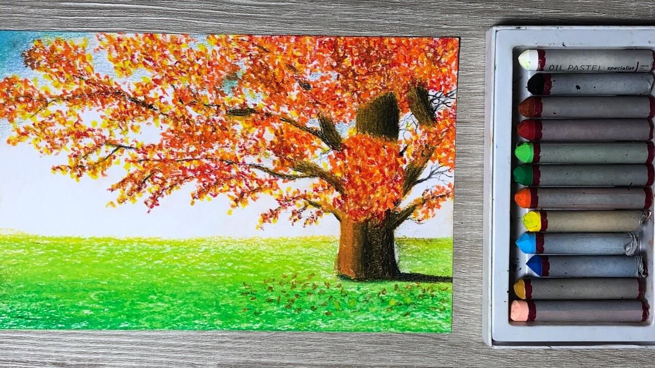 Easy Autumn Tree Pastel Painting 5 Steps And Free Tips Tropic Drawing