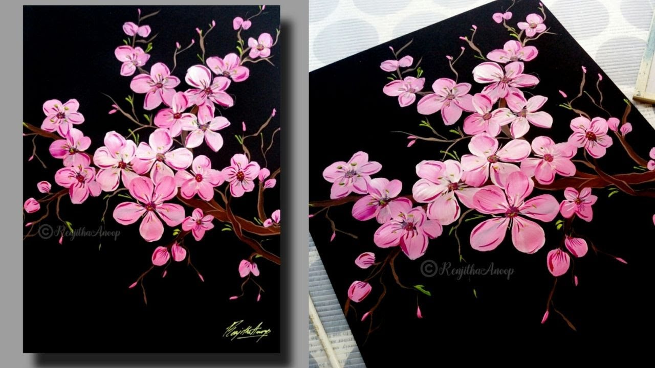 Easy Cherry Blossom Acrylic Painting Tutorial