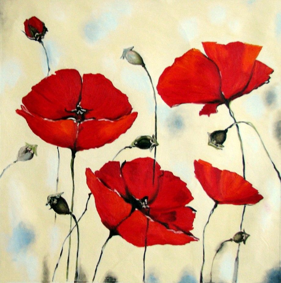 Easy Guide For Poppy Flower Acrylic Painting