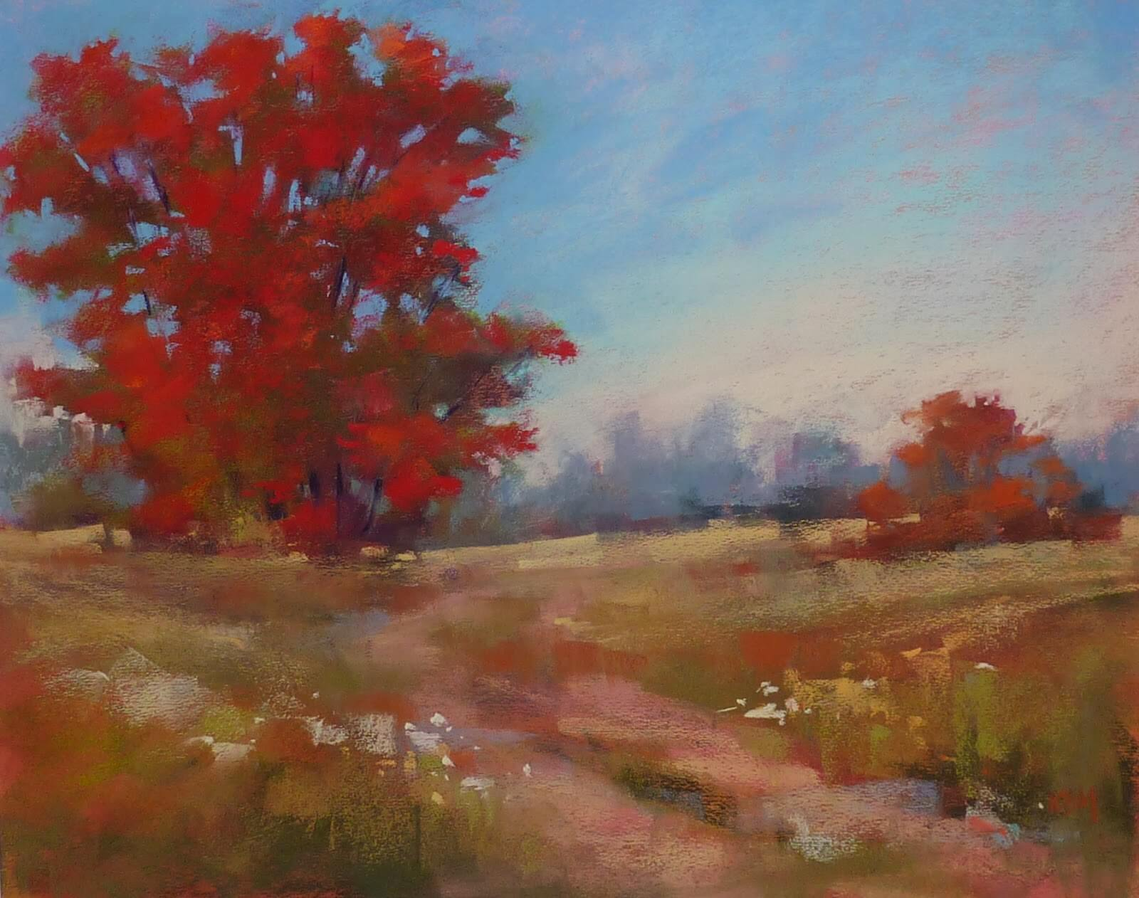 Easy Autumn Tree Pastel Painting