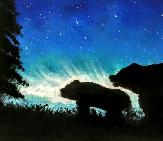 6 Easy Steps Bear Silhouette Acrylic Painting