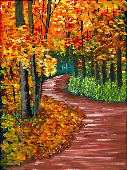 Easy Autumn Tree Acrylic Painting