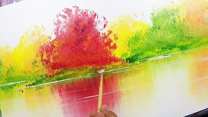 5 Easy Autumn Tree Acrylic Painting