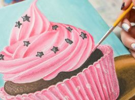 6 Easy Steps Cupcake Acrylic Painting Tutorial