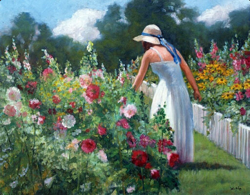 How-to-Paint-a-Flower-Garden-beautiful-woman-in-white-dress-in-her-flower-garden
